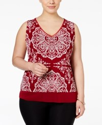 Inc International Concepts Plus Size Layered Printed Tank Only At Macy's Henna Emblem