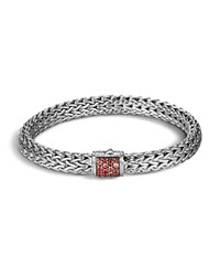 John Hardy Classic Chain Sterling Silver Lava Medium Bracelet With Red Sapphire
