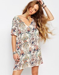 Glamorous Button Front Tea Dress In Floral Festival Print Multi