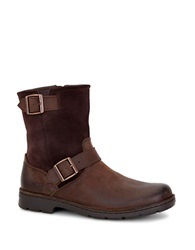 Ugg Messner Shearling Lined Leather Moto Boots Brown