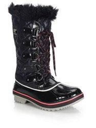 Sorel Tofino Faux Fur Trimmed Quilted Lace Up Boots Black