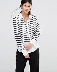 Gestuz Deidre Stripe Shirt Black White