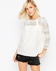 Lace Sleeve Top Snowwhite