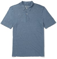 Hartford Slim Fit Linen Polo Shirt Blue