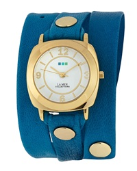 La Mer Odyssey Leather Wrap Watch Grecian Blue
