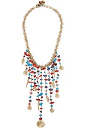 Rosantica Appeso Brass And Bead Necklace Turquoise
