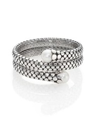 John Hardy Dot 11Mm White Pearl And Sterling Silver Double Coil Bracelet Silver Black