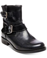Steve Madden Women's Cain Buckle Booties Women's Shoes Black Leather