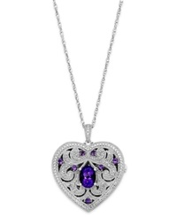 Macy's Amethyst 1 Ct. T.W. And Diamond 1 10 Ct. T.W. Heart Locket Necklace In Sterling Silver