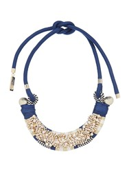 Max Mara Naiadi Embellished Necklace With Tie Blue