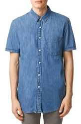 Men's Topman Slim Fit Short Sleeve Washed Denim Shirt