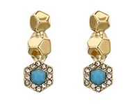 Rebecca Minkoff Pave Gem Climber Earrings 12K With Turquoise And Crystal Earring Gold