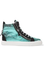 Giuseppe Zanotti Metallic And Textured Leather High Top Sneakers Blue