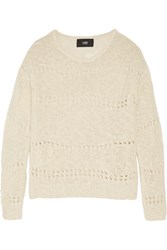 Nolan Open Knit Cotton And Linen Blend Sweater Ecru