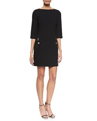 Michael Kors 3 4 Sleeve Boat Neck Shift Dress Black Women's