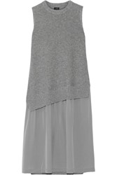 Joseph Wool And Cashmere Blend And Silk Crepe De Chine Dress Gray