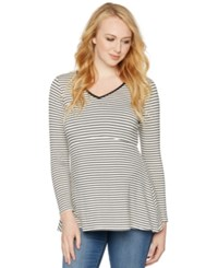 Loveappella Maternity Striped Peplum Top