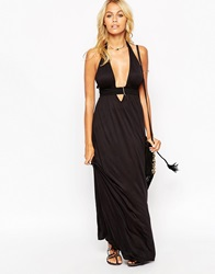 Asos Jersey Ruched Halter Maxi Beach Dress Black
