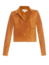 Frame Denim Le Cropped Suede Jacket Tan