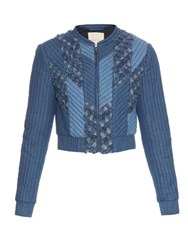 Rebecca Taylor Patchwork Quilted Bomber Jacket Mid Blue