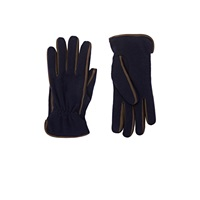 Barneys New York Leather Trimmed Knit Gloves Navy