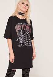 Missguided Wretched Oversized T Shirt Dress Black