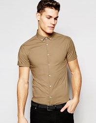 Asos Skinny Shirt In Light Camel With Buttown Down Collar And Short Sleeves Light Camel Tan