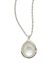 Ippolita Wonderland Mother Of Pearl Clear Quartz And Sterling Silver Mini Teadrop Doublet Pendant Necklace