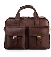 Aspinal Of London Harrison Leather Overnight Business Bag Chocolate