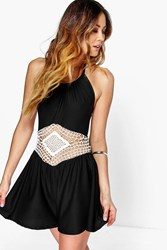 Boohoo Crochet Middle Halter Neck Playsuit Black