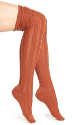 Women's Free People 'Fray' Openwork Knit Over The Knee Socks Orange Rust