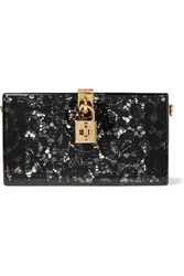 Dolce And Gabbana Lace Perspex Box Clutch Black