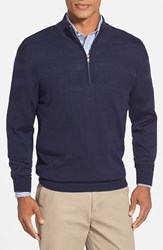 Men's Big And Tall Cutter And Buck 'Douglas' Merino Wool Blend Half Zip Sweater Liberty Navy