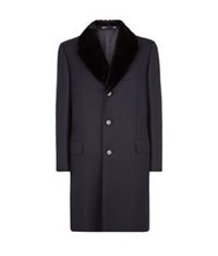 Canali Fur Collar Wool Overcoat Navy