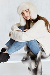 Urban Outfitters Faux Fur Trapper Hat Ivory