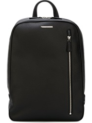 Ermenegildo Zegna Front Zip Backpack Black