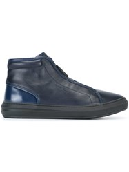 Salvatore Ferragamo Side Zip Hi Top Sneakers Blue