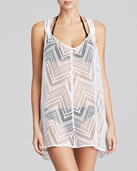 Milly Drapey Crochet Swim Cover Up Tunic White
