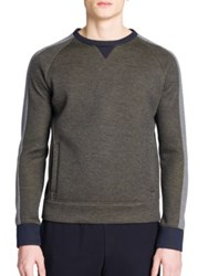 Emporio Armani Colorblock Crewneck Sweatshirt Grey Blue
