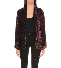 The Kooples Baroque Velvet Kimono Jacket Red Black