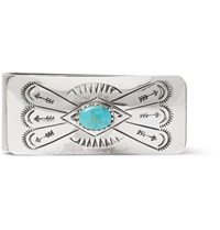 Foundwell Vintage 1960S Engraved Sterling Silver And Turquoise Money Clip