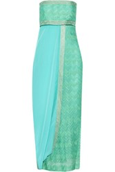Missoni Strapless Draped Crochet Knit Maxi Dress Multi