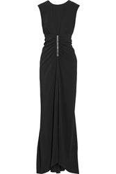 Reed Krakoff Leather Trimmed Stretch Crepe Gown