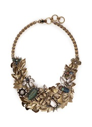 Miriam Haskell Foliage And Insect Applique Metal Bib Necklace Metallic