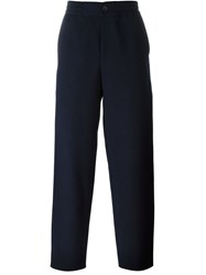 Ps Paul Smith Embroidered Straight Fit Trousers Blue