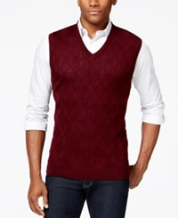 Club Room Big And Tall Merino Textured Argyle Vest Only At Macy's Red Plum