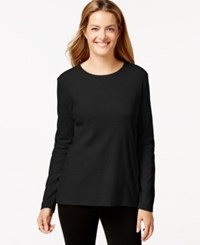 Styleandco. Style And Co. Long Sleeve Crew Neck T Shirt Deep Black