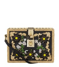 Dolce And Gabbana Crystal Embellished Dolce Box Clutch Female Black