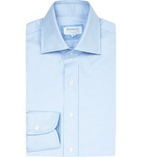 Emmett London Slim Fit Micro Chevron Cotton Shirt Blue
