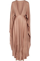 Valentino Cape Effect Silk Jersey Maxi Dress Taupe
